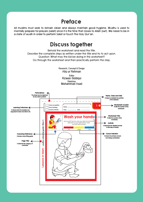 Wudhu Colouring Worksheet - Digital | Arabic Playground
